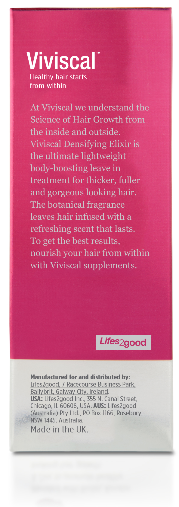 Back of box of Viviscal Gorgeous Growth Densifying Elixir